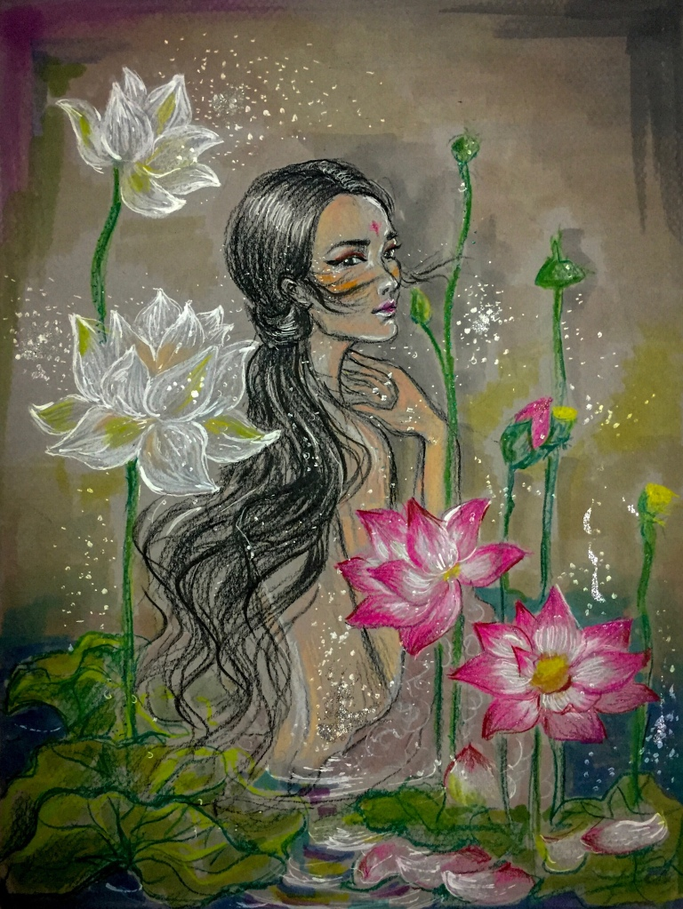 Chinese art lotus girl